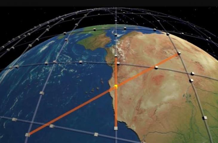 Ilustrasi satelit Starlink yang akan saling terhubung.  (University College London/ Mark Handley)
