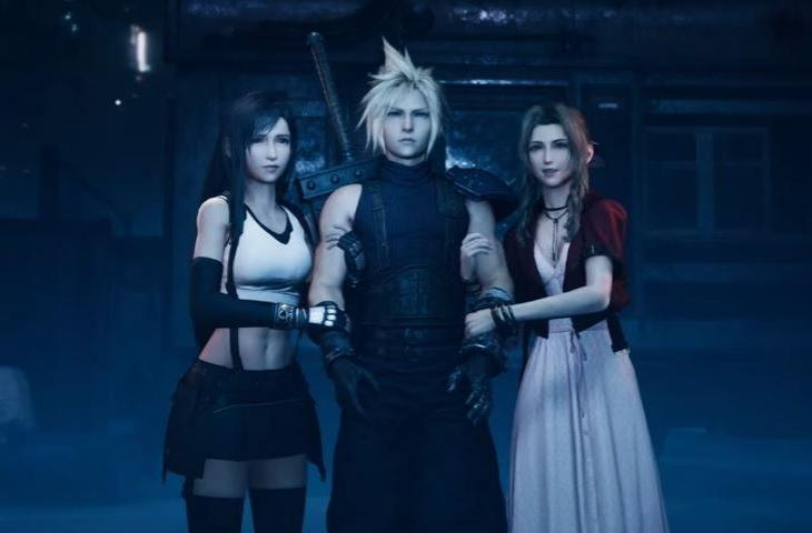 Tifal, Cloud, dan Aerith Final Fantasy VII Remake. (Square Enix)