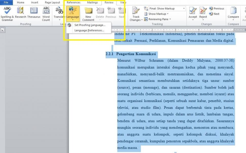 Menu language di Microsoft Word. (HiTekno.com)