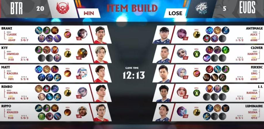 Game ketiga EVOS vs BTR dimenangkan BTR. (YouTube/ MPL Indonesia)